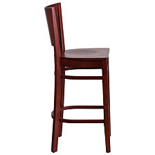 Lacey Series Solid Back Mahogany Wood Restaurant Barstool