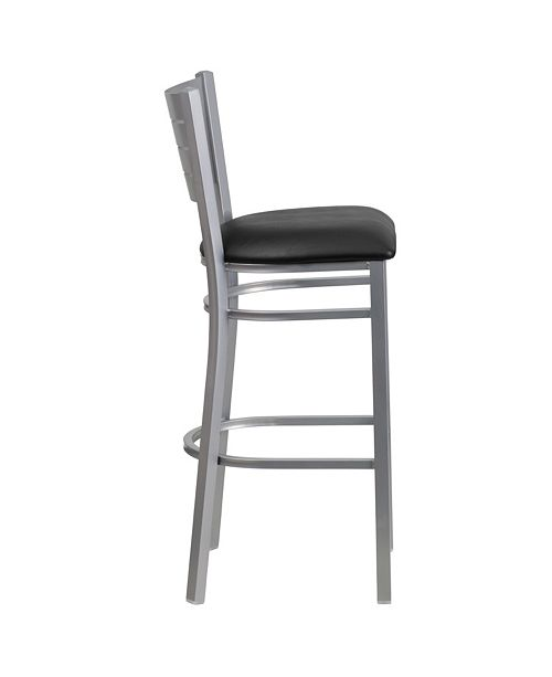 Superb Hercules Series Silver Slat Back Metal Restaurant Barstool Black Vinyl Seat Alphanode Cool Chair Designs And Ideas Alphanodeonline
