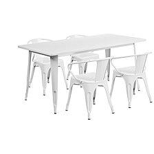 31.5'' x 63'' Rectangular Metal Indoor-Outdoor Table Set With 4 Arm Chairs