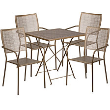 28'' Square Gold Indoor-Outdoor Steel Folding Patio Table Set With 4 Square Back Chairs