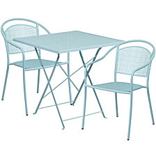 28'' Square Sky Blue Indoor-Outdoor Steel Folding Patio Table Set With 2 Round Back Chairs