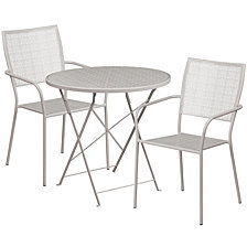 30'' Round Light Gray Indoor-Outdoor Steel Folding Patio Table Set With 2 Square Back Chairs