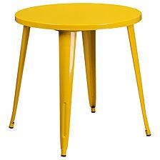 30'' Round Yellow Metal Indoor-Outdoor Table