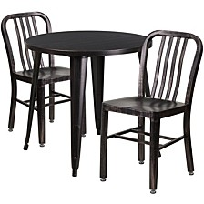 30'' Round Black-Antique Gold Metal Indoor-Outdoor Table Set With 2 Vertical Slat Back Chairs