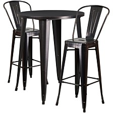 30'' Round Black-Antique Gold Metal Indoor-Outdoor Bar Table Set With 2 Cafe Stools