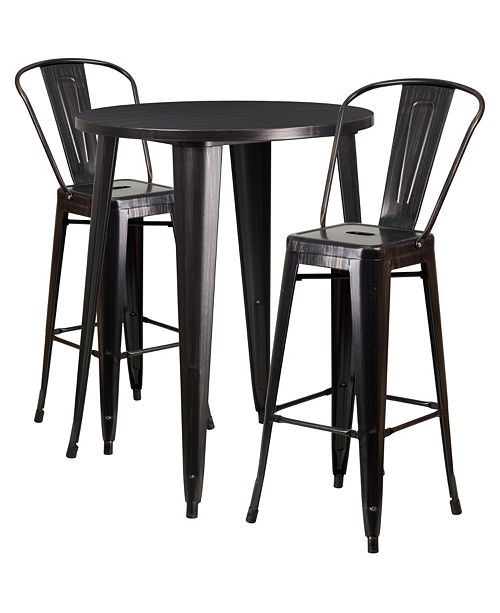 Terrific 30 Round Black Antique Gold Metal Indoor Outdoor Bar Table Set With 2 Cafe Stools Forskolin Free Trial Chair Design Images Forskolin Free Trialorg