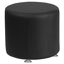 Hercules Alon Series Black Leather 18'' Round Ottoman