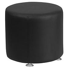 Hercules Alon Series Black Leather 18'' Round Ottoman