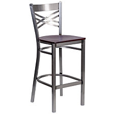 Hercules Series Clear Coated ''X'' Restaurant Barstool