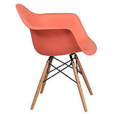 Alonza Series Peach Plastic Chair With Wood Base