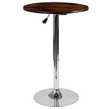 23.5'' Round Adjustable Height Rustic Pine Wood Table (Adjustable Range 26.25'' - 35.5'')