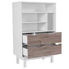 St. Claire Collection Bookshelf And Storage Cabinet In White Finish With Oak Wood Grain Drawers