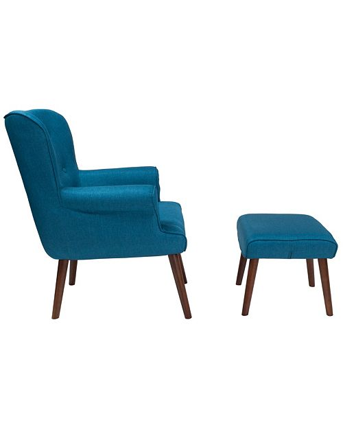 super popular 3cbc3 044b2 Bayton Upholstered Wingback Chair With Ottoman In Blue Fabric