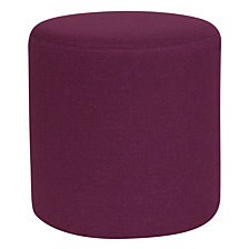 Barrington Upholstered Round Ottoman Pouf In Purple Fabric