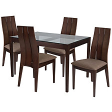 Albany 5 Piece Espresso Wood Dining Table Set With Glass Top And Wide Slat Back Wood Dining Chairs - Padded Seats