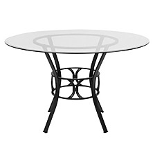 Carlisle 48'' Round Glass Dining Table With Black Metal Frame