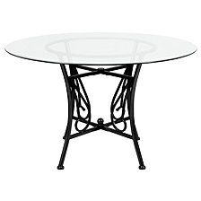 Princeton 48'' Round Glass Dining Table With Black Metal Frame