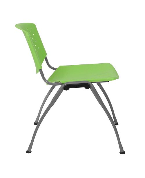 Hercules Series 880 Lb Capacity Green Plastic Stack Chair With Anium Frame