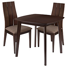 Barrington 3 Piece Espresso Wood Dining Table Set With Wide Slat Back Wood Dining Chairs - Padded Seats