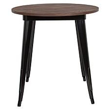 "26"" Round Black Metal Indoor Table With Walnut Rustic Wood Top"