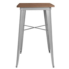 """23.5"""" Square Silver Metal Indoor Bar Height Table With Walnut Rustic Wood Top"""