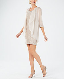 R & M Richards Petite Glitter Lace Dress & Waterfall Jacket