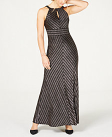 Nightway Petite Striped Glitter Keyhole Gown