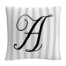 """Gray Striped Ornate Letter Script 16x16"""" Decorative Throw Pillow by ABC"""