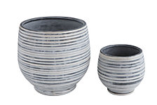 Grey and White Stripe Planter