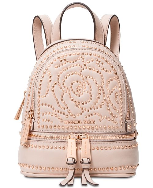 dbfc4ac9cbc6 Michael Kors Rhea Mini Zip Studded Convertible Backpack   Reviews ...