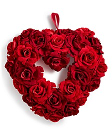 Valentine's Day Heart-Shaped Artificial Red Rose Wreath, Created for Macy's