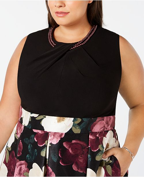 528cbdc59c73d SL Fashions Plus Size Printed-Skirt Fit & Flare Dress & Reviews ...