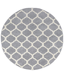 "Surya Horizon HRZ-1001 Medium Gray 7'10"" Round Area Rug"