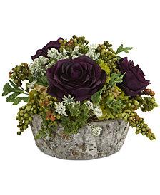 Nearly Natural Roses Bouquet Artificial Arrangement in Oak-Look Vase