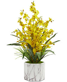 Nearly Natural Dancing Lady Orchid Artificial Arrangement in Faux Marble Vase