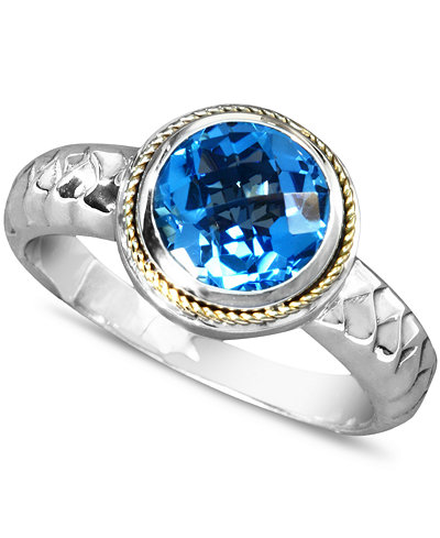 Balissima by EFFY Blue Topaz Round Ring (2-1/3 ct. t.w.) in Sterling Silver and 18k Gold