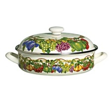 Kensington Garden Porcelain Enamel 4 Qt Covered Low Casserole