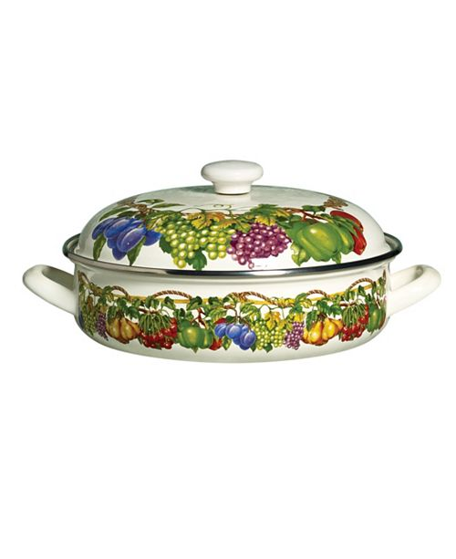 Tabletops Unlimited Kensington Garden Porcelain Enamel 4 Qt Covered Low Casserole