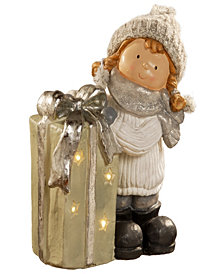 "National Tree 15"" Girl with Giftbox & Battery Operated LED Lights"