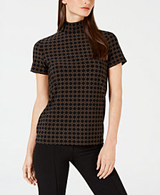 Anne Klein Printed Short-Sleeve Turtleneck Top