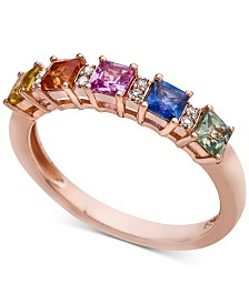 Multi-Sapphire (1 ct. t.w.) & Diamond Accent Ring in 14k Rose Gold