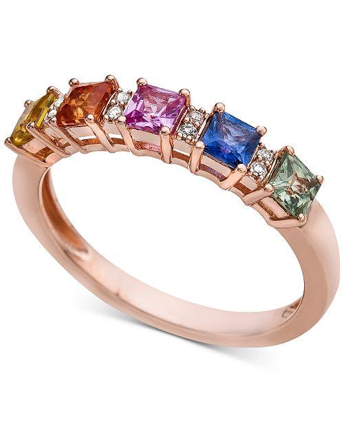 Macy's Multi-Sapphire (1 ct. t.w.) & Diamond Accent Ring in 14k Rose Gold