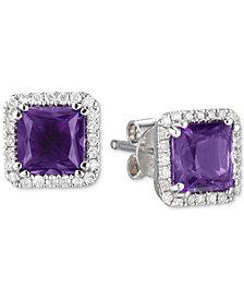 Amethyst (1-1/2 ct. t.w.) & Diamond (1/5 ct. t.w.) Square Stud Earrings in 14k White Gold