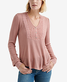 Lucky Brand Pintuck-Bib Knit Top