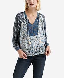 Lucky Brand Multimedia Peasant Top