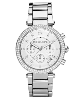 Image of Michael Kors Women's Chronograph Parker Stainless Steel Bracelet Watch 39mm MK5353