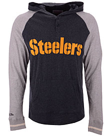 Mitchell & Ness Men's Pittsburgh Steelers Slugfest Lightweight Hooded Long Sleeve T-Shirt