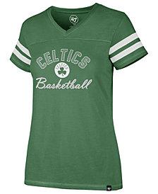 '47 Brand Women's Boston Celtics Metallic Dinger V-Neck T-Shirt