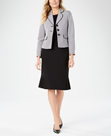 Le Suit Three-Button Printed Jacket Skirt Suit
