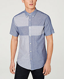 Tommy Hilfiger Men's Wainwright Custom Fit Stripe-Block Shirt, Created for Macy's